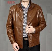 2014 men's   stand collar  genuine leather sheepskin jacket