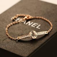 YTSL45 High Quality Luxury Fashion Real 18K Gold Plated Women Bracelet Jewelry Czech Crystal Charm Round Nail Screws Bangles