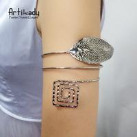 Artilady Big Leaf Armlet Cuff Bracelets Vintage Cuff Bangle Women Jewelry Arm Gifts Party Bijoux