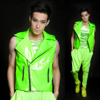 Fashion Hot sale Male Neon Green Motorcycle leather Vest men's Ds dj costume top