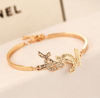 YTSL46 Luxury European Brand Women Czech Charm Crystal Letters Bracelet Jewelry 18K Real Gold Plated Lady Wedding Party Bangles
