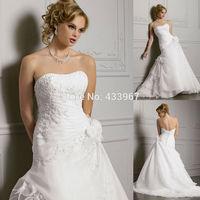 Vestido De Noiva Plus Size Vestidos De Novia 2014 Vestido Noiva Casamento Hand Made Flower Floor Length Organza