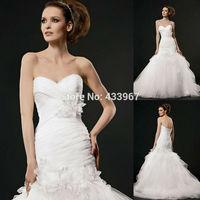 Sweetheart Pleated Bodice Mermaid Tulle Flower Corset Back Lace Vestidos De Noivas Weding Dress Fabulous Wedding Gown