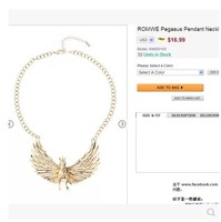 2014 Brand New Gold 3D Pegasus Pendant Women Fashion Necklace  Statement Party Jewelry