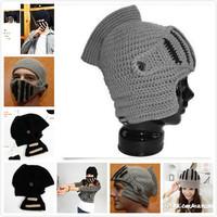 New Roman Knight Helmet Caps Cool Handmade Knit Ski Warm Winter Hats