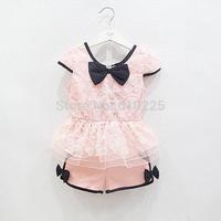 New 2014 Children Clothing Sets Fashion Girls Clothing Sets Lace Shirt And Shorts Set Kids Summer Clothes