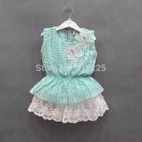 New 2014 Children Clothing Sets Fashion Girls Clothing Sets Lace Skirt 2 pcs Sets Kids Summer Clothes Child Clothing