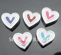 50pcs 8mm mix color heart slide charms DIY accessories
