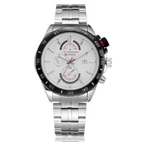HOT !!! NEW CURREN Business Casual White Men Watches,Charm Gentleman Quartz Men's Watch,Free Shipping,Valentine's Christmas Gift