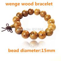 Fashion Vintage Wenge Natural Wood 15MM Beads  Men Handmade Japa Mala Buddha Bracelets & Bangle Gift