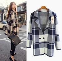 2014 British wind knitted sweater Long cardigan jacket  women sweater Free shipping
