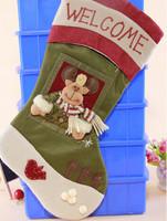 GAGA!Free shipping shipping high quality beautiful and fashionable flannelette cartoon deer christmas stocking,24pcs/lot,YS2-6