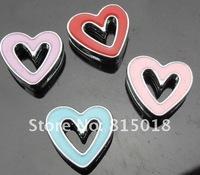 50pcs 8mm mix color heart slide charms fit 8mm Pet Collar