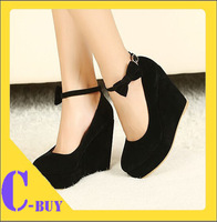 Free shipping 2014  NEW 2014 New Sexy Women Fashion Cute Cat Face Buckle Shoes Vogue Wedges High Heels Platform Pumps
