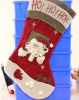 GAGA!Free shipping shipping high quality beautiful and fashionable flannelette santa claus christmas stocking,24pcs/lot,YS2-5
