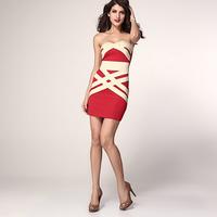 FREE SHIPPING Ladies sleeveless slit neckline tube top tube top slim waist slim hip one-piece dress 2955