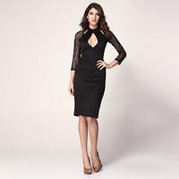 FREE SHIPPING Fashion fashion women's long-sleeve o-neck cutout slim hip slim waist over-the-knee one-piece dress 6197