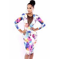 FREE SHIPPING European version of the fashion women's gauze print long-sleeve slim hip one-piece dress 6379