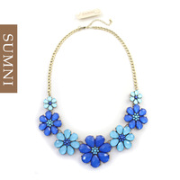Fashion quality ocean wind blue fresh flower short necklace design women necklace bohemia style