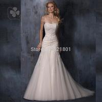 The new 2014 mermaid wedding dresses lace fishtail wedding dress trailing Bra straps ivory color vestido de noiva 409