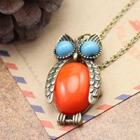 Mini fashion accessories owl necklace female fashion long design personalized rhinestone alloy