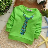 2014 spring unisex boys cartoon cat tie active cotton baby children sweatshirts KT229R