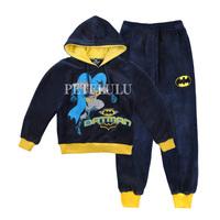 velvet outerwear 2 pcs suit 2014 new winter BATMAN baby boys clothing set hoodies sweatshirt +pants sports suit Free shipping