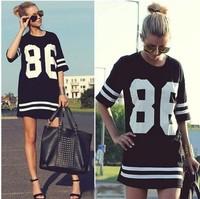 free shipping cheapest 2014 new  black color sports Casual Dress Stripe Summer Dress Women Dress,Fashion Women Sexy mini dress