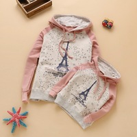 2014 Autumn New In Mother And Daughter Tower Print Hoodies Family Fashion Family Clothing Swetashirt