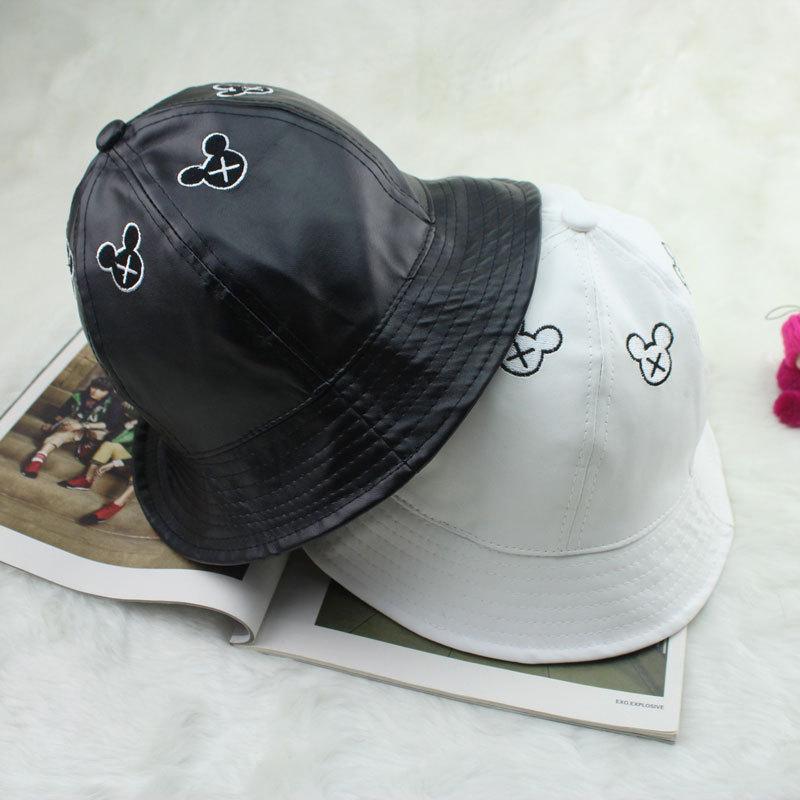 Bucket Hat Leather Leather Mickey Bucket Hats