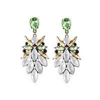 Fashion quality fresh quietly elegant white green drop long earring design  rhinestone romantic style