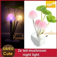 New 2x EU/US Plug led night light vatar electric induction dream mushroom  LED table lamp Multicolor Bedroom Decoration Light
