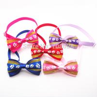 New Footprints Pattern Dog Pet Ribbon Bow Ties Adjustable Neckties Cat Tie Collars Pet Accessories 50PC/Lot Free Shipping