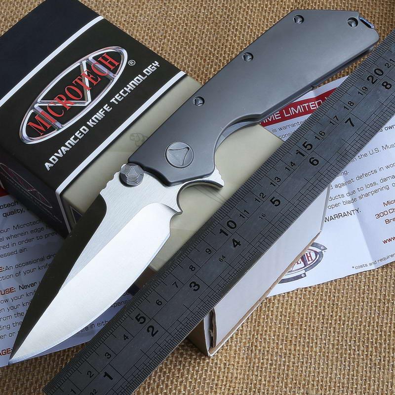 Wild boar Bearing washer folding Tactical camping knife Microtech Strider DOC titanium handle D2 blade Combat pocket EDC knives(China (Mainland))