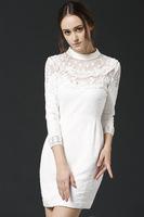 Free shipping 2014 new autumn winter woman fashion white vintage long sleeve lace beading sheath casual dress