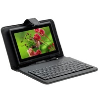 Hot 5 Colors Universal for All Tablet PCs with standrad mini micro USB  English Keyboard PU Leather Cover Case(PJ-04)