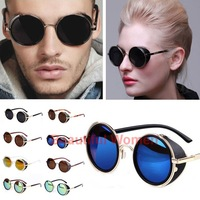 Drop shipping 2014 summer Unisex cool STEAMPUNK Retro vintage round sunglasses Men women brand design Sun glasses SV004886 3F