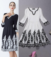 Best Quality New Fashions 2014 Autumn Winter Women Hand Kniiting Embroidery Patchwork V-Neck Thick Cotton Dress Mid-Calf Length
