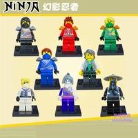 8PCS/LOT baby toys education dolls assembled cartoon dolls hand model Phantom Ninja blocks free shipping
