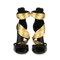 Genuine Leather Gold Leaves Sandals Brand Summer Women Matal 12CM High Heel Shoes High Heel Sandals For Female Plus Size 34-42