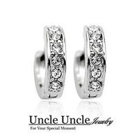 18K White Gold Plated Austrian Rhinestones Inlaid U-shape Style Element Lady Stud Earrings Wholesale