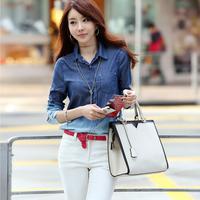 Women's Blusas Femininas 2014 Com Denim Shirt Plus Size Blouse  Camisa Jeans Feminina Blusa De Renda Cardigan Women Jeans Tops