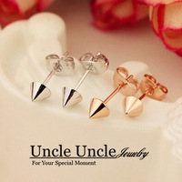New Arrival!!! Rose Gold Plated Lovely Small Rivet Design Glossy Surface Lady Stud Earrings Wholesale