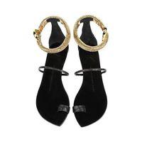 Genuine Leather Gold Snake Leather Sandals Brand Summer Flat Sandal Animal Decration Fretwork Women Matal Shoes Plus Size 34-42