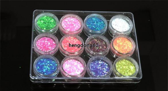 12 PCS Color Dust Glitter Powder Nail Art Tip Decoration Paillette Spangles IS6H(China (Mainland))