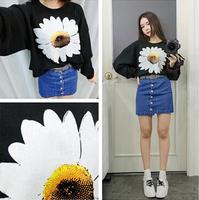 new 2014 Autumn daisy print loose long sleeve desigual women punk T-shirt sweatshirt cardigans desigual coat cardigan sweater