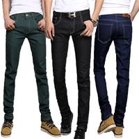 New  2014 10 Color men's clothing mid waist denim long trousers male jeans trousers slim elastic skinny pants