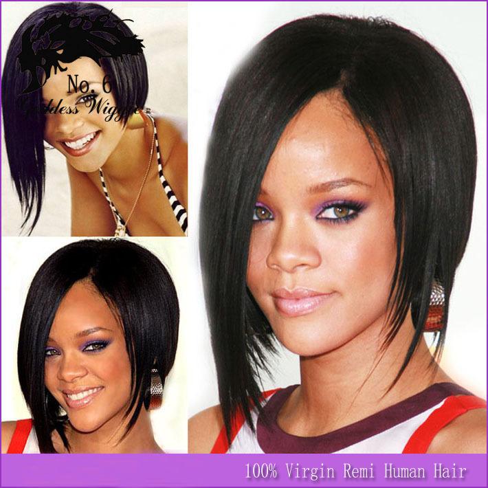 130 Densidade celebridade cabelo humano peruca cheia do laço de seda / Yaki em linha reta Bob Wigs 12 polegadas nenhum emaranhado nenhum derramamento corte livre(China (Mainland))