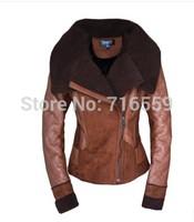 Hot-Selling 2014 Best NEW Women's Winter Fashion ONE FUR Coat Turn-Down Collar Female Sheepskin Wool-One Outerwear WZ02