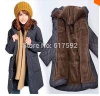 2014 winter plus size cotton-padded jacket wool line warm women parka jacket 4XL 5XL 6XL loose cotton padded loose coat